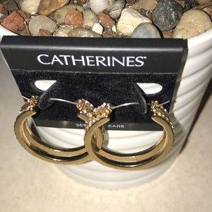 """1"""" Gold Tone Pierced Hoop Earrings with """"diamonds"""""""